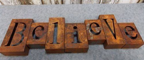 Believe Sign Metal Industrial Style Rusty Block Letter Christmas