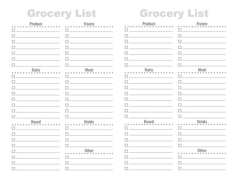 Printable Grocery List – Printable Shopping List with Categories