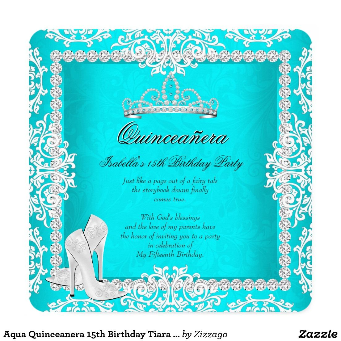 Aqua Quinceanera 15th Birthday Tiara High Heels Invitation ...