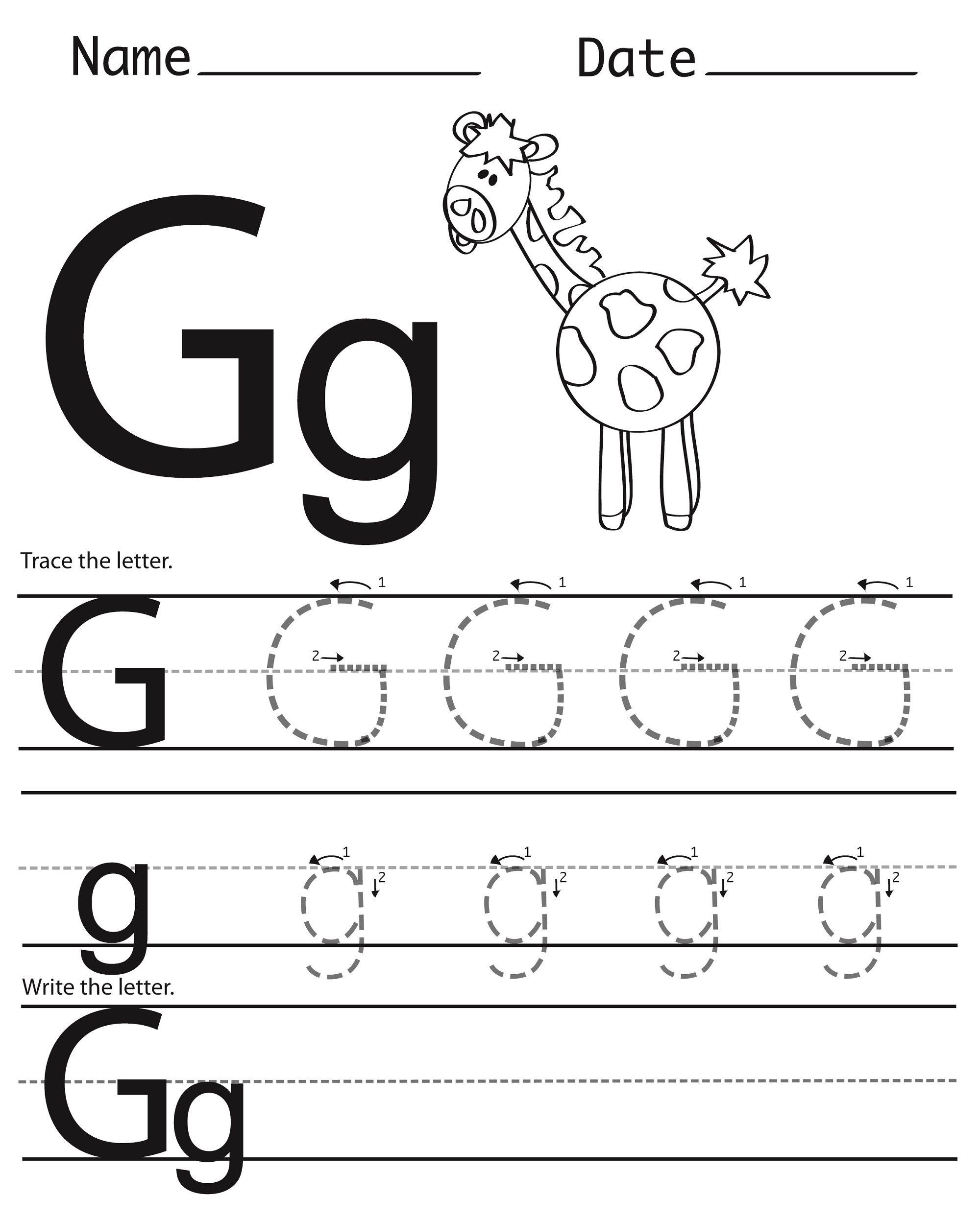 Trace Letter G For Better Handwriting
