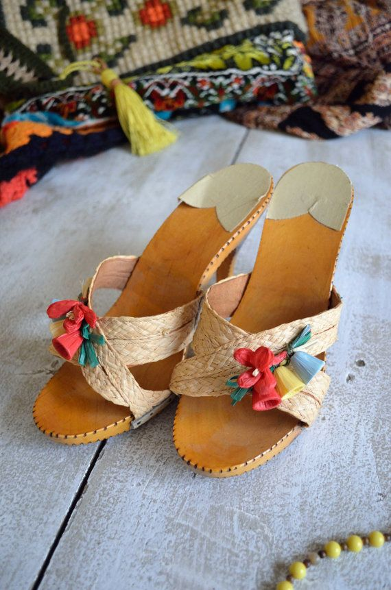 1950's  1960's Mule Clog Open-toe Wooden Sandal by ShopMohican