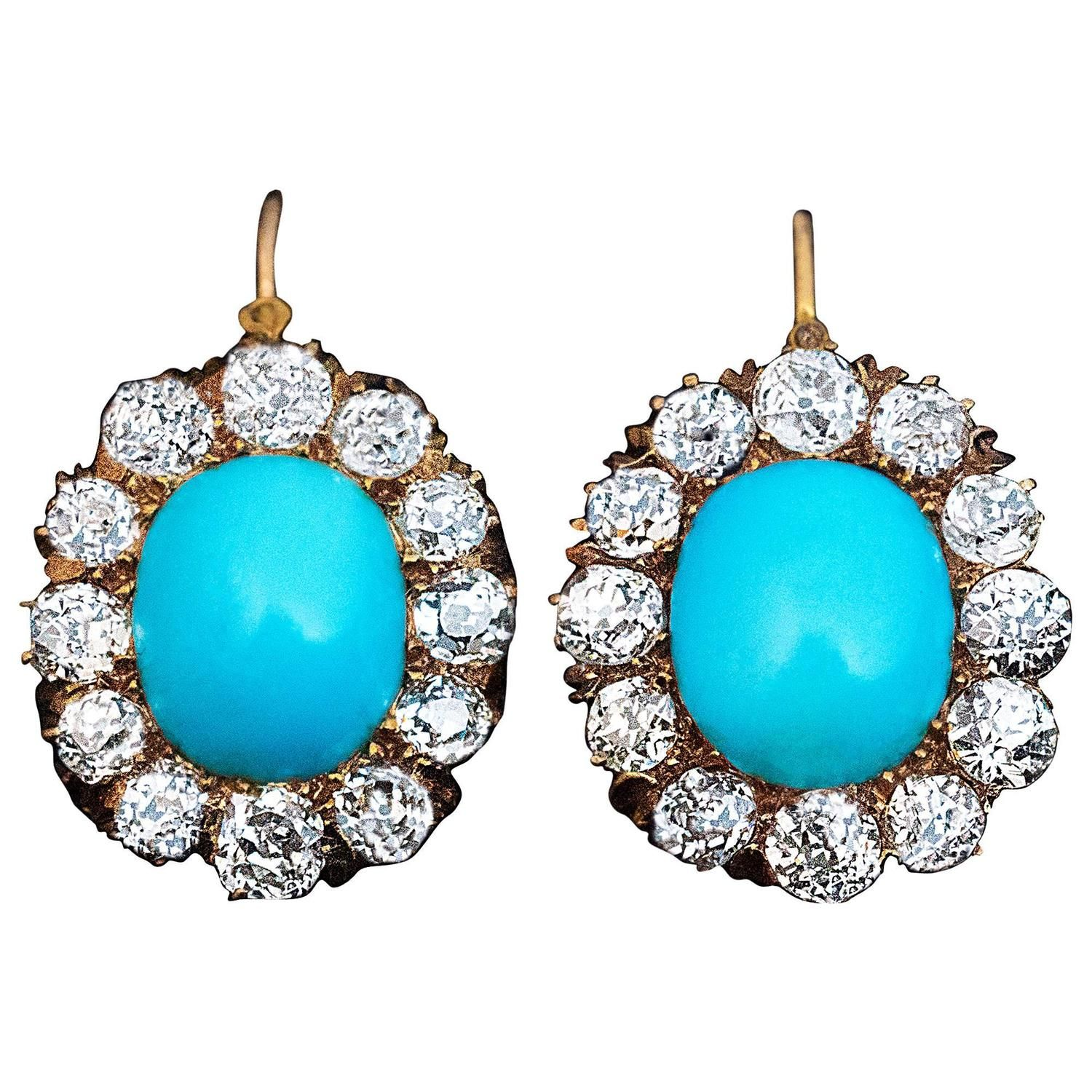 Antique Turquoise Diamond Gold Earrings