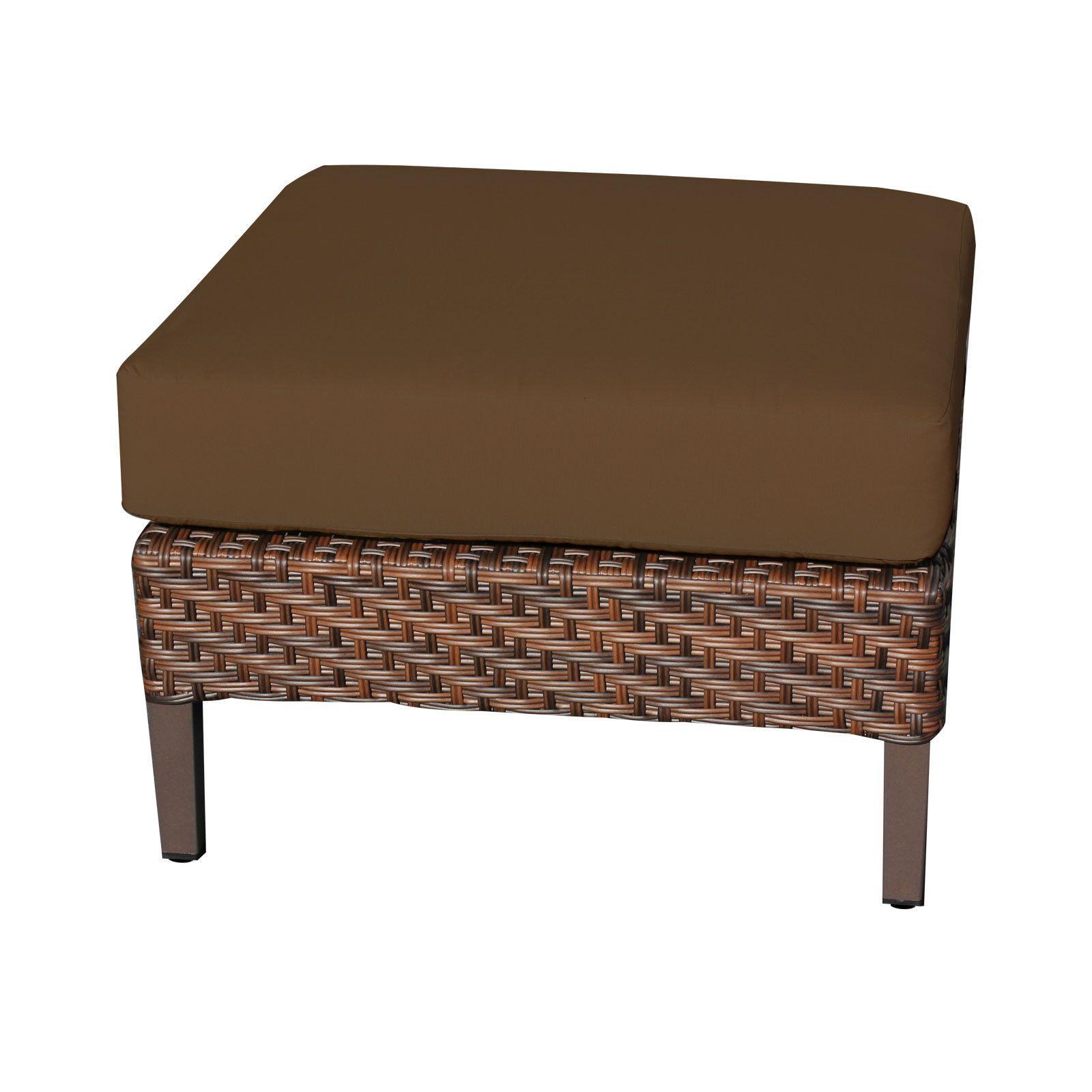 TKC Carmel Outdoor Ottoman Patio Furniture, Cocoa