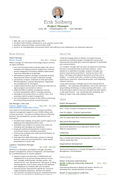 Project Management Resume Sample Project Manager Resume Example  Self  Pinterest  Project