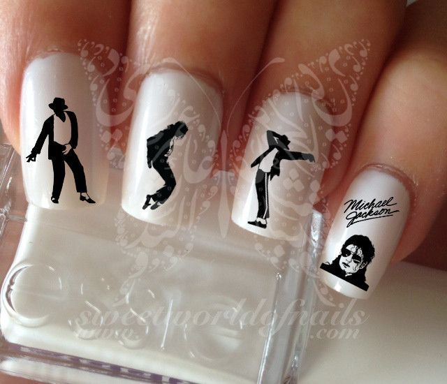 Michael Jackson Nail water decals transfers | Uña decoradas, Diseños ...