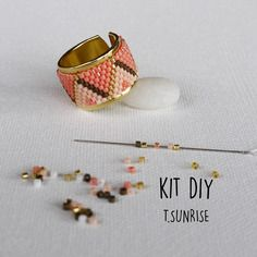 Kit bijoux bague tissage perles miyuki  - corail or - modèle t.sunrise*