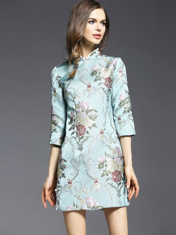 Enchant You Blue Embroidered Qipao / Cheongsam Dress