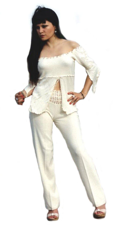 Natur weißes Damen Set lange Hose und halboffene schulterfreie #Shirt #Bluse Fledermausärmel 100% #ökologische Pima #Baumwolle Biobaumwolle