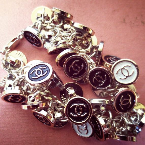 Black And White Chanel Inspired Monogram Button Chunky Xs Charm By