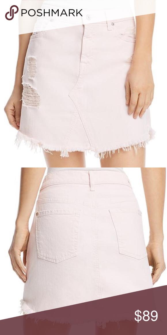 e88f0d3e5b32 7 For All Mankind Jean Skirt in Light Pink 7 For All Mankind Womens  Destroyed Frayed