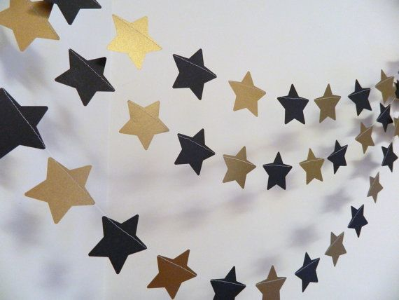 Black And Gold Birthdaydecorations Gold And Black Star Garland