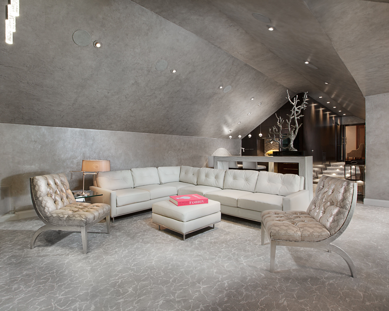 Contemporary Full Home Remodel Attic Media Room By Posh Exclusive Interiors Contemporary Living Room Home Remodeling Living Room Grey