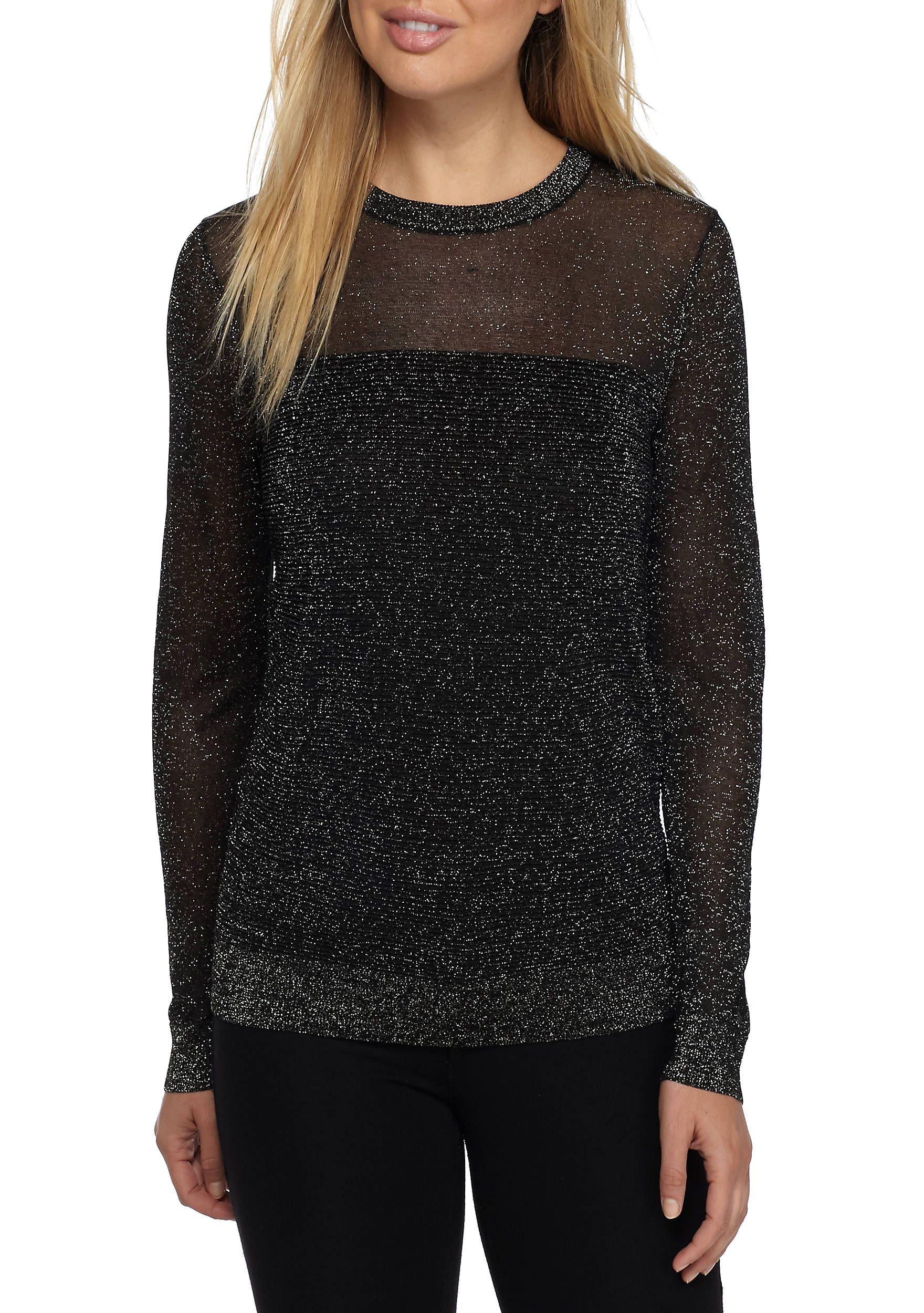 Michael Kors Metallic Crew-Neck Sweater Black gold Women s Clothing Sweaters   BlackGold 1803007MF76NEK7ZL  3fe5029c8