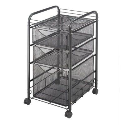 Safco Onyx Mobile Rolling Office Doent Storage Organizer Mesh File Cart With 4 Drawers Black