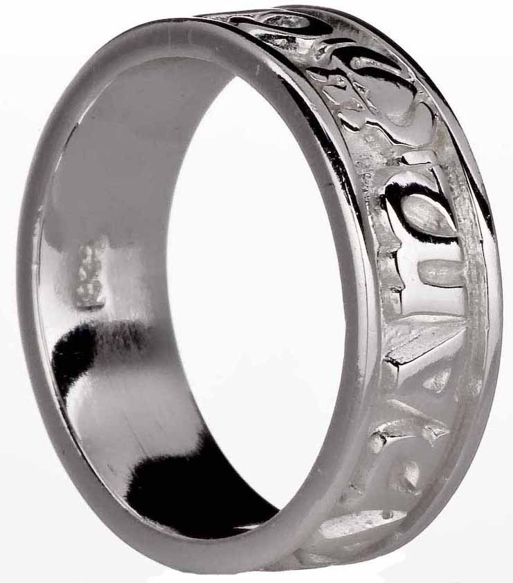 """Ladies Silver """"My Soul Mate"""" Celtic Claddagh Band Ring"""