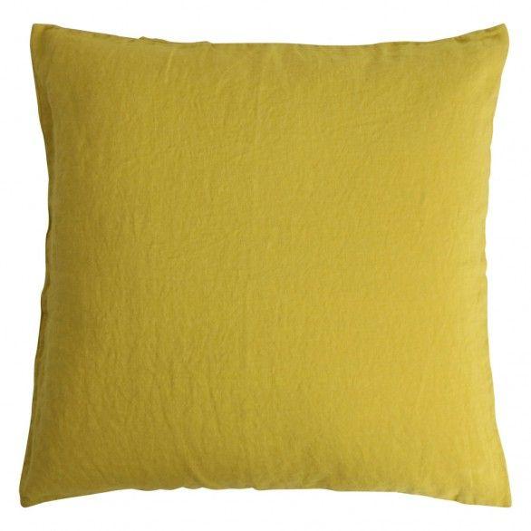 Stone washed linen cushion - Mustard