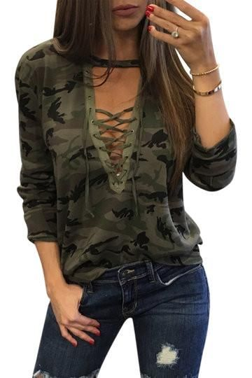 5709b031d43a7e Basic and sexy, this casual top is perfect for go out. With camouflage  pattern and long sleeve, this top features lace-up front details and V neck  design ...