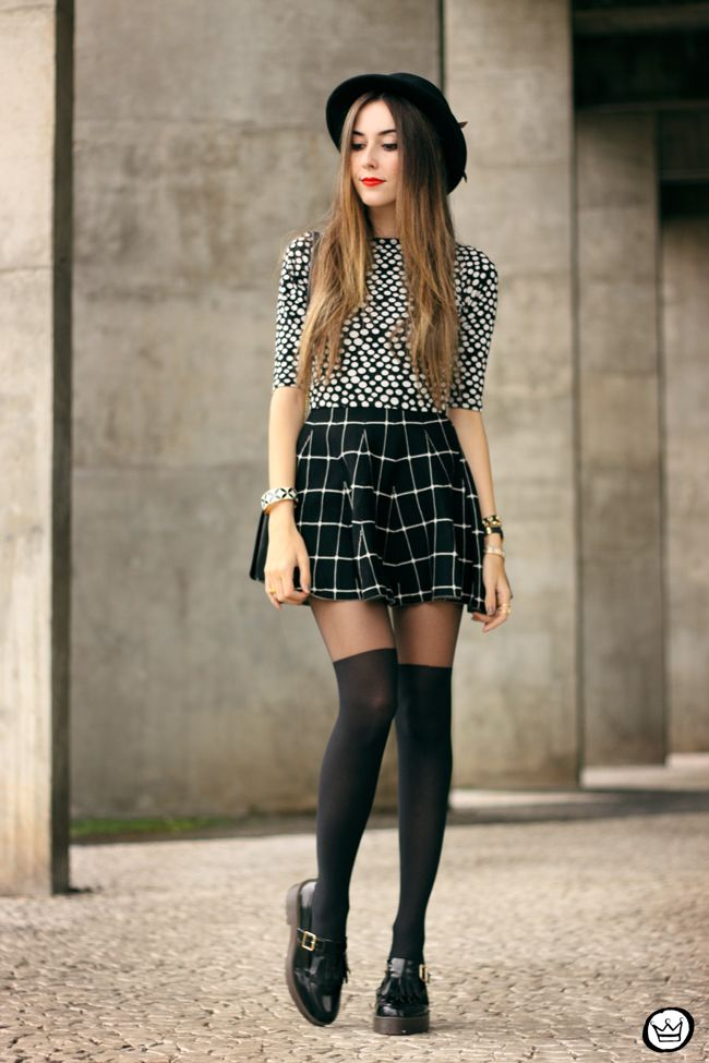 2161e76447 FashionCoolture - 26.05.2015 look du jour Black and white outfit polka dots  top plaid skirt (5)