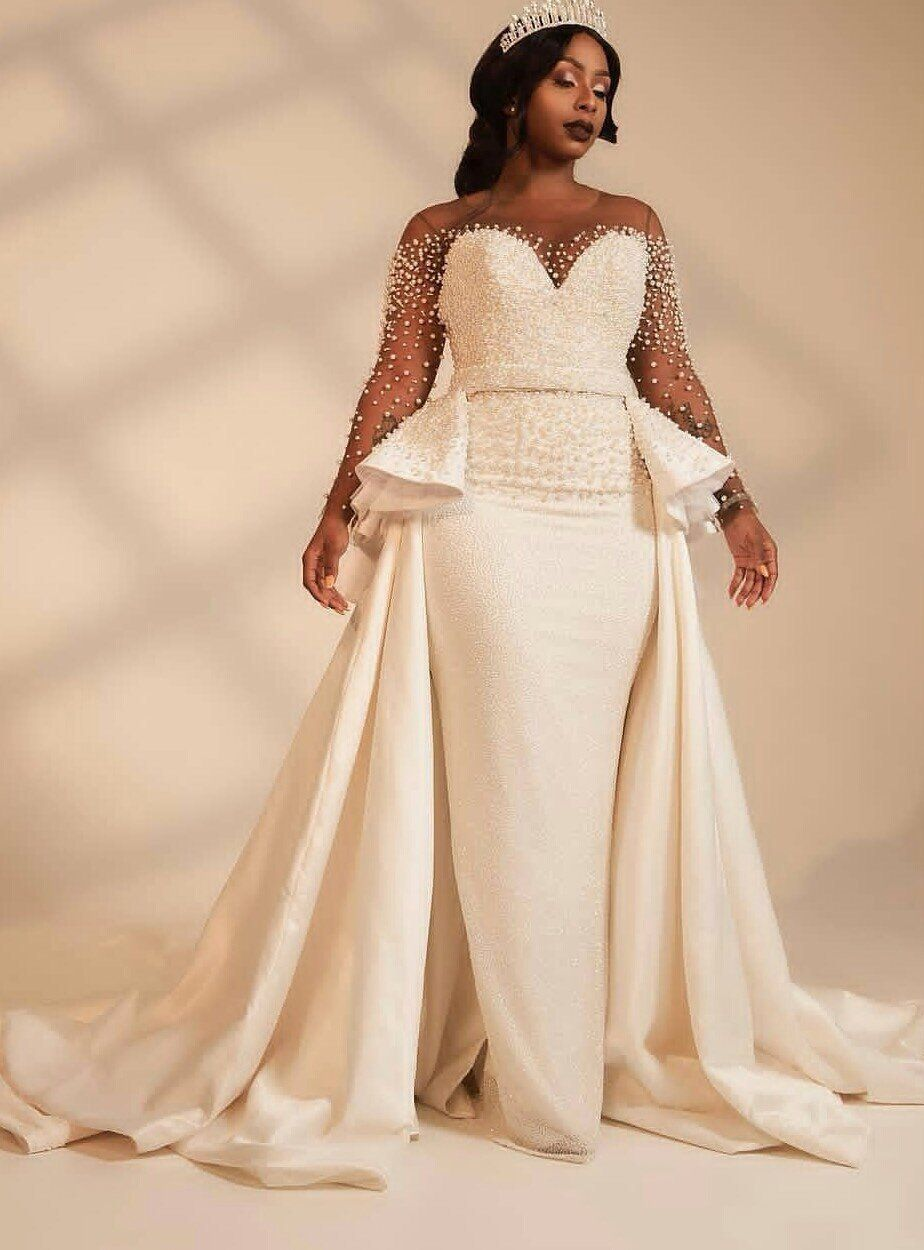 African white wedding dress with cape/African cape dress with