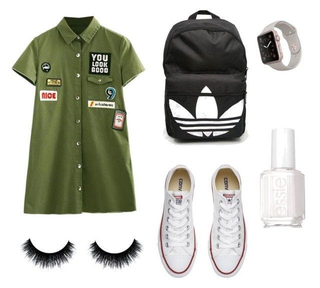 """➰Bts outfit➰"" by queenmgt on Polyvore featuring Converse, adidas and Essie"