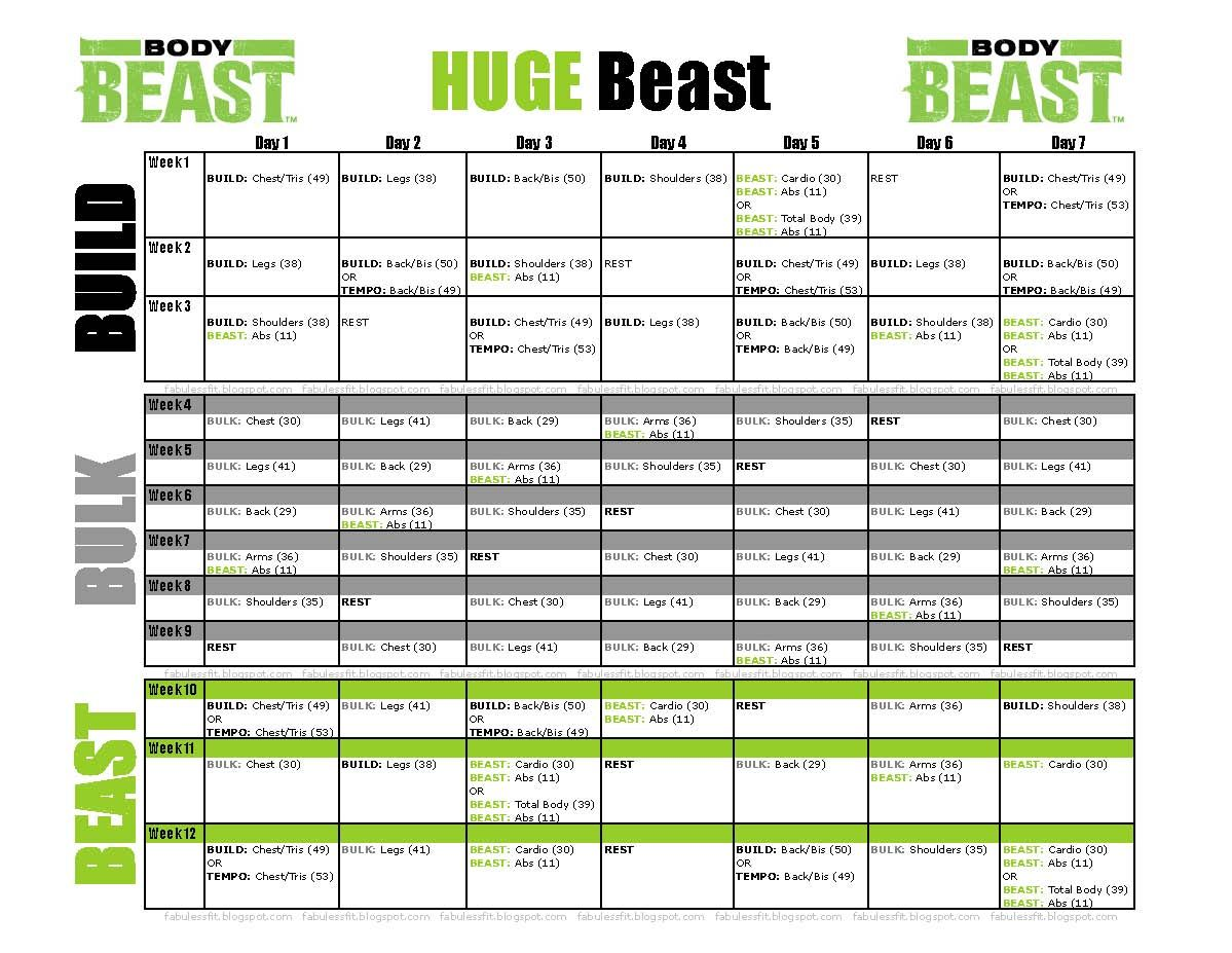 Body Beast Workout Schedule Huge