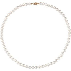 """14kt Yellow 6-6.5mm Akoya Cultured Pearl 24"""" Strand Necklace"""