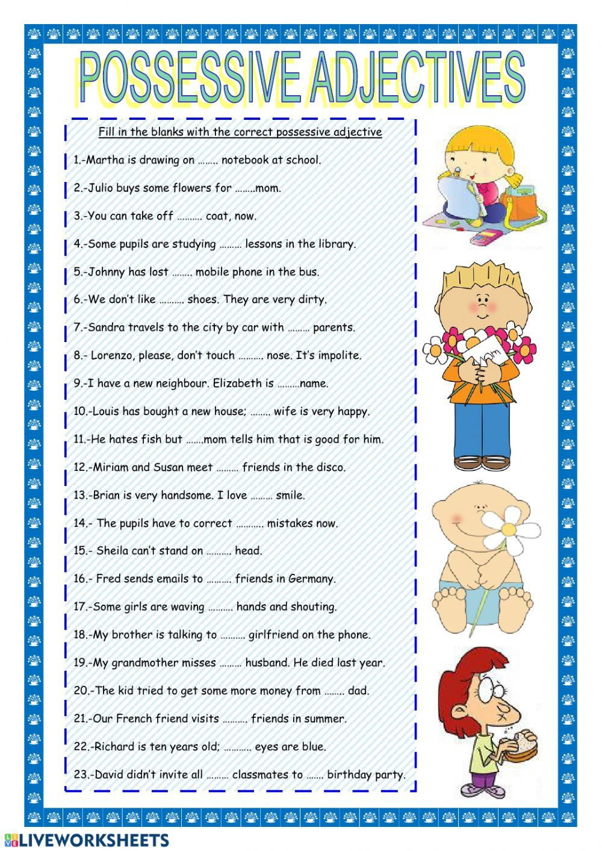Possessive Adjectives English As A Second Language Esl Online Worksheet Canciones Escolares Adjetivo Como Aprender Ingles Basico