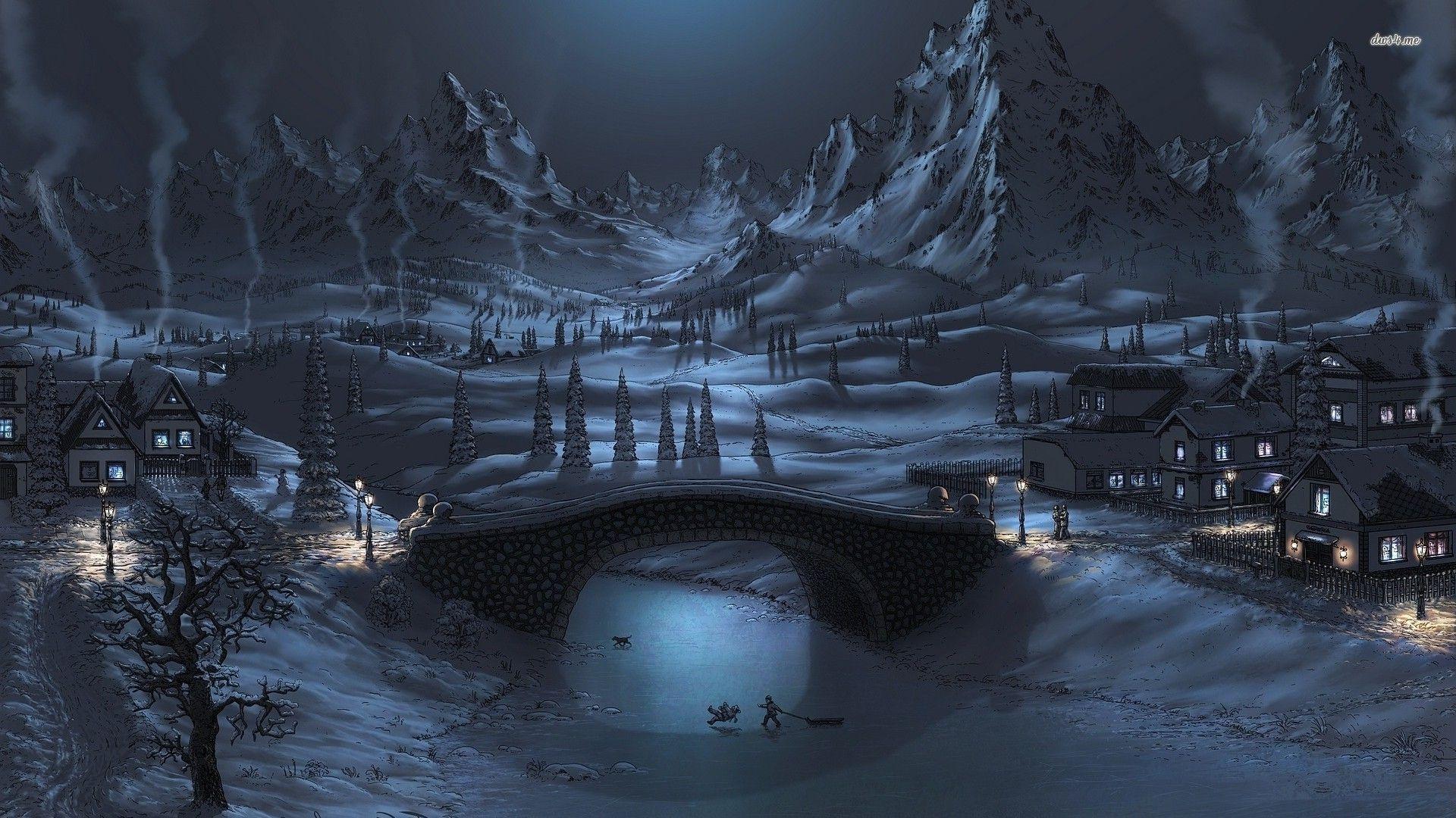 Winter Night, 1920x1080 Maud Meder Paysage hiver, Nuit d