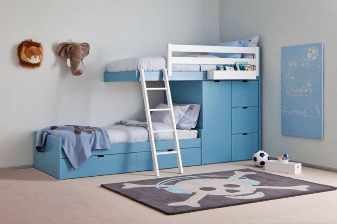 Litera tren con cama nido debajo Dormitorios infantiles modernos