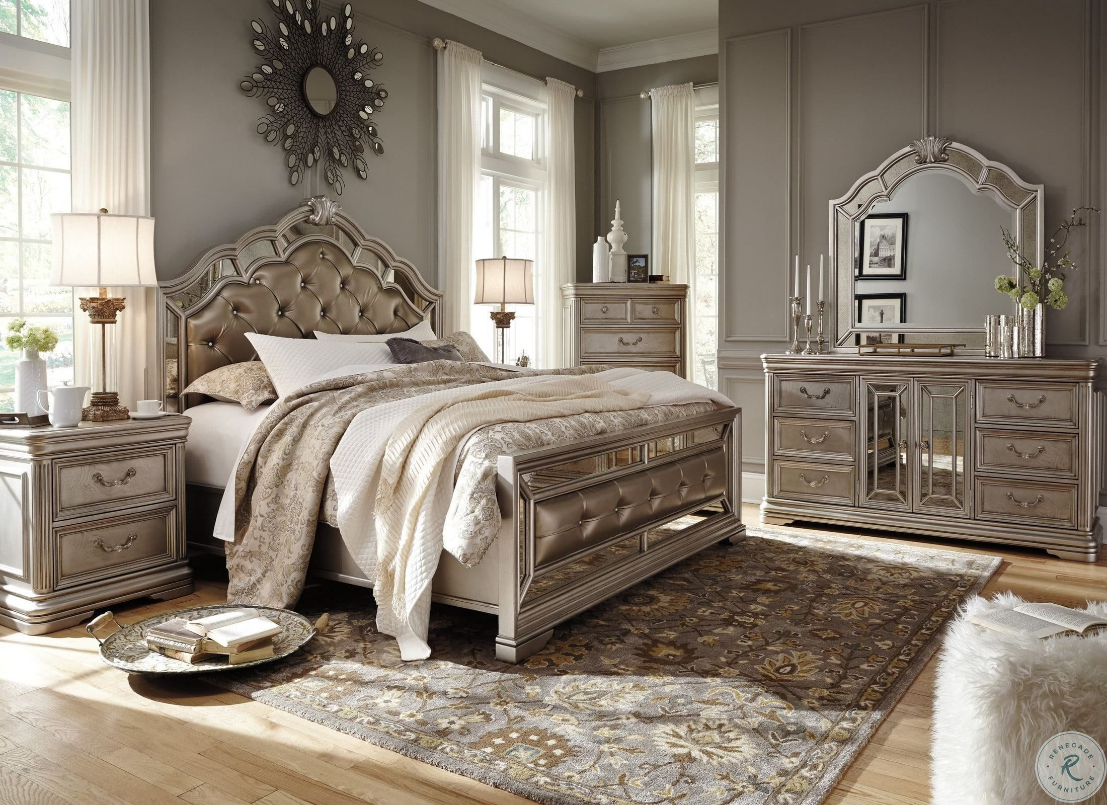 Birlanny Silver Upholstered 4 Piece Panel Bedroom Set from