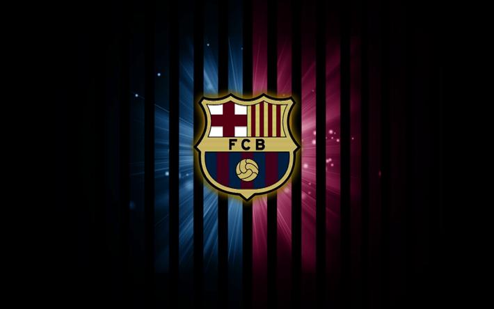 Lataa kuva FC Barcelona, logo, FCB, pimeys, La Liga, Barca, Barcelona