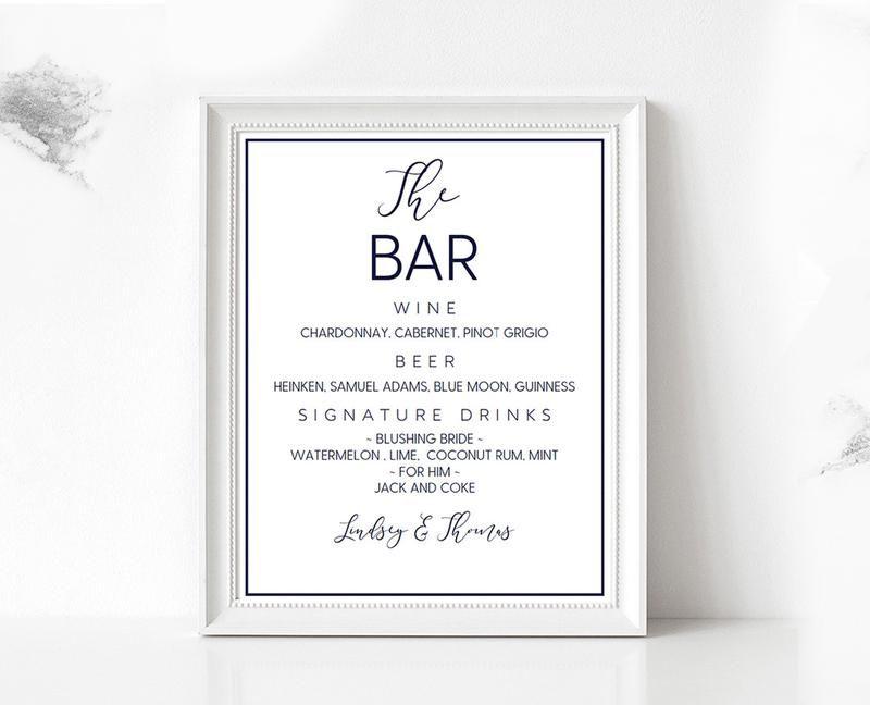 Navy Loose Calligraphy Bar Menu DIY Editable and Printable Wedding ...