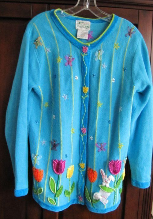 Quacker Factory Ugly Easter Sweater on eBay $33 19 | Ugly Easter