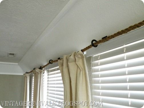 Rope Curtain Rod Tutorial With Images Curtain Rods Diy