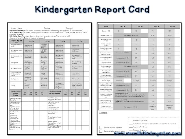 free report card template