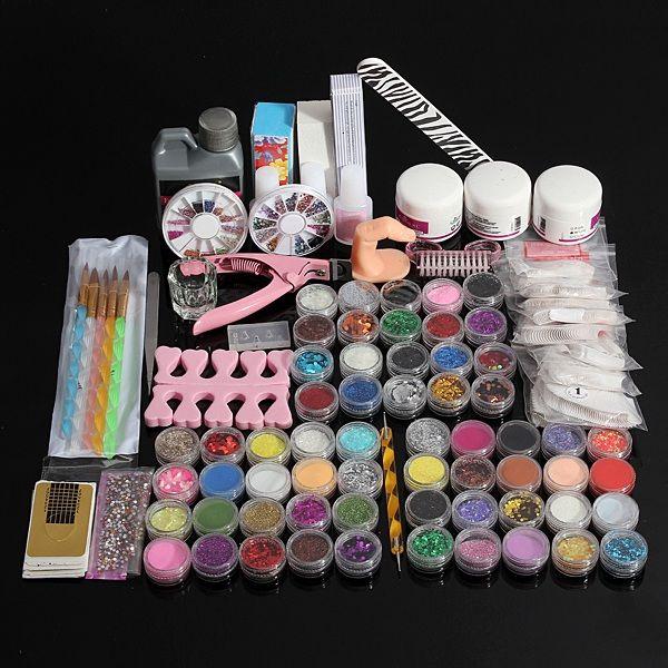 60 uv acrílico conjunto kit de herramientas de arte pegamento del ...