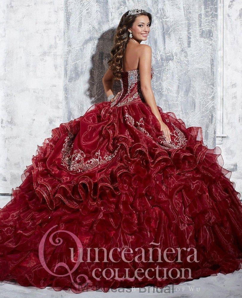 Luxury Burgundy 2017 Quinceanera Dress Rhinestones Sweetheart Ball ...