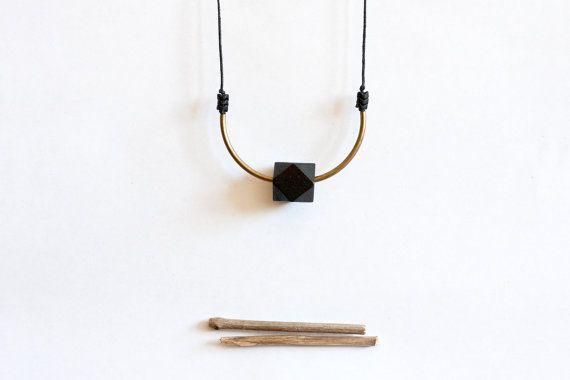 brass black wood czech beads and black rope long by nanoukiko, $26.00