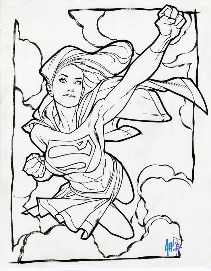 Adam Hughes - Karl Story - Supergirl inked drawing, in Wallace ...