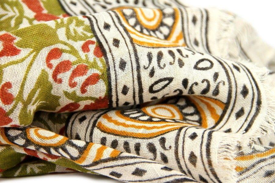 echarpe en lin jammu motif paisley grands foulards et foulards. Black Bedroom Furniture Sets. Home Design Ideas