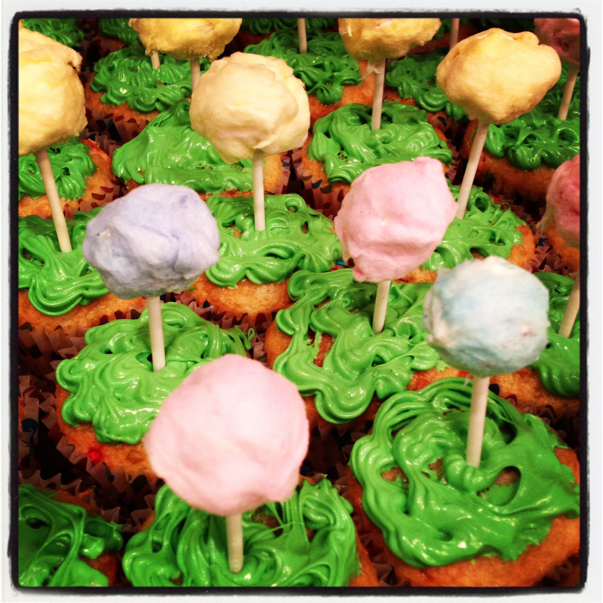 Truffula Tree Cupcakes I made for the preschool earth day party :)