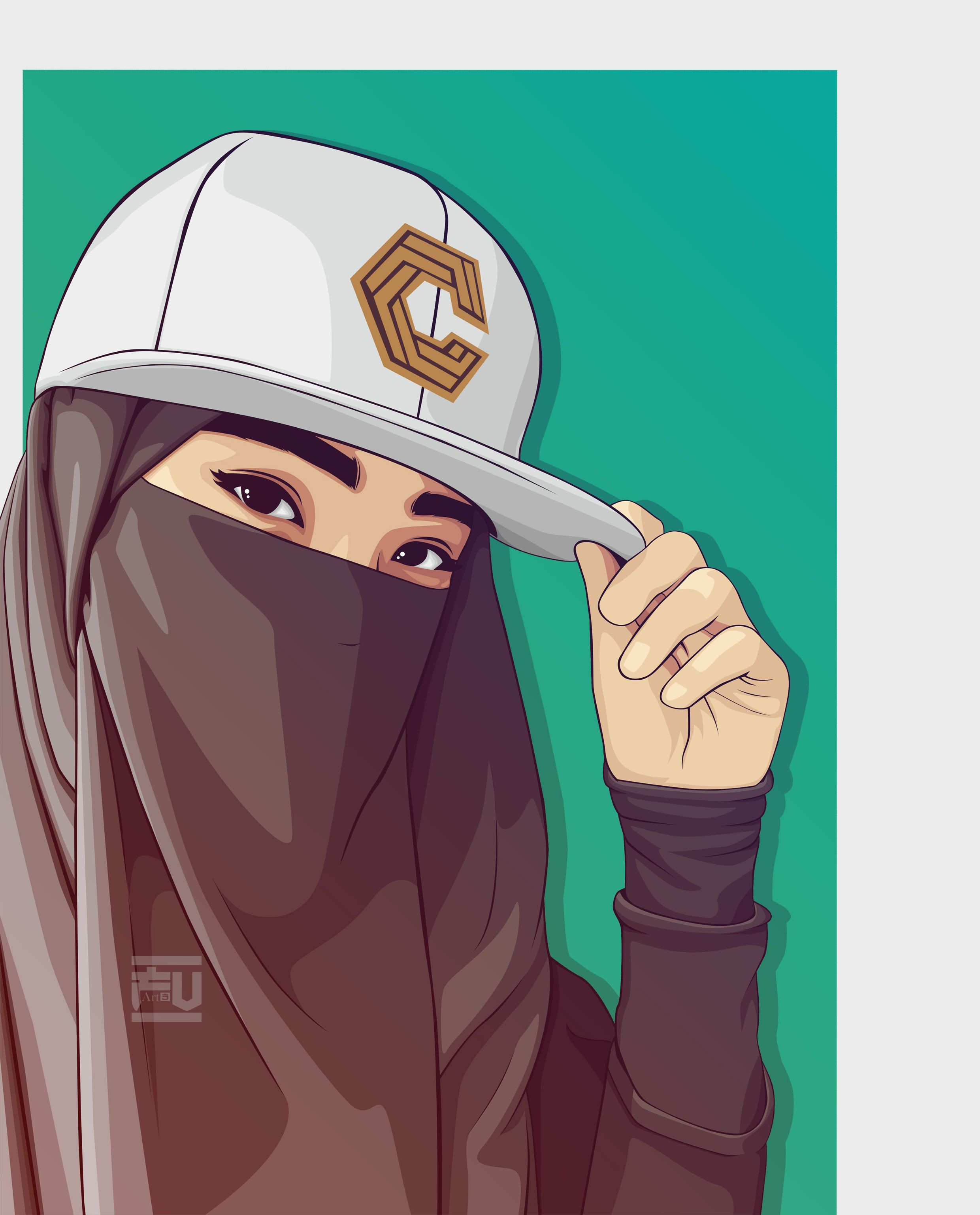 Vector Hijab Niqab Ahmadfu22 Pejuang Wanita Gambar Kartun