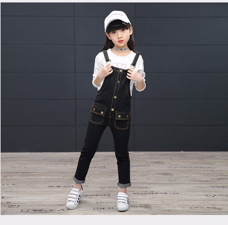 dd23ad7f6b F8170# Latest Design Girls Top Elastic Knitting Kids Jumpsuit Denim ...