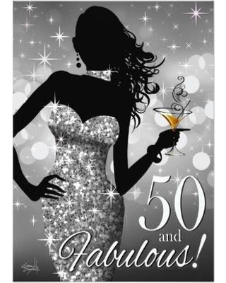 Bring The Bling Sparkle 50th Birthday Silver 5x7 Paper Invitation Card 320x400