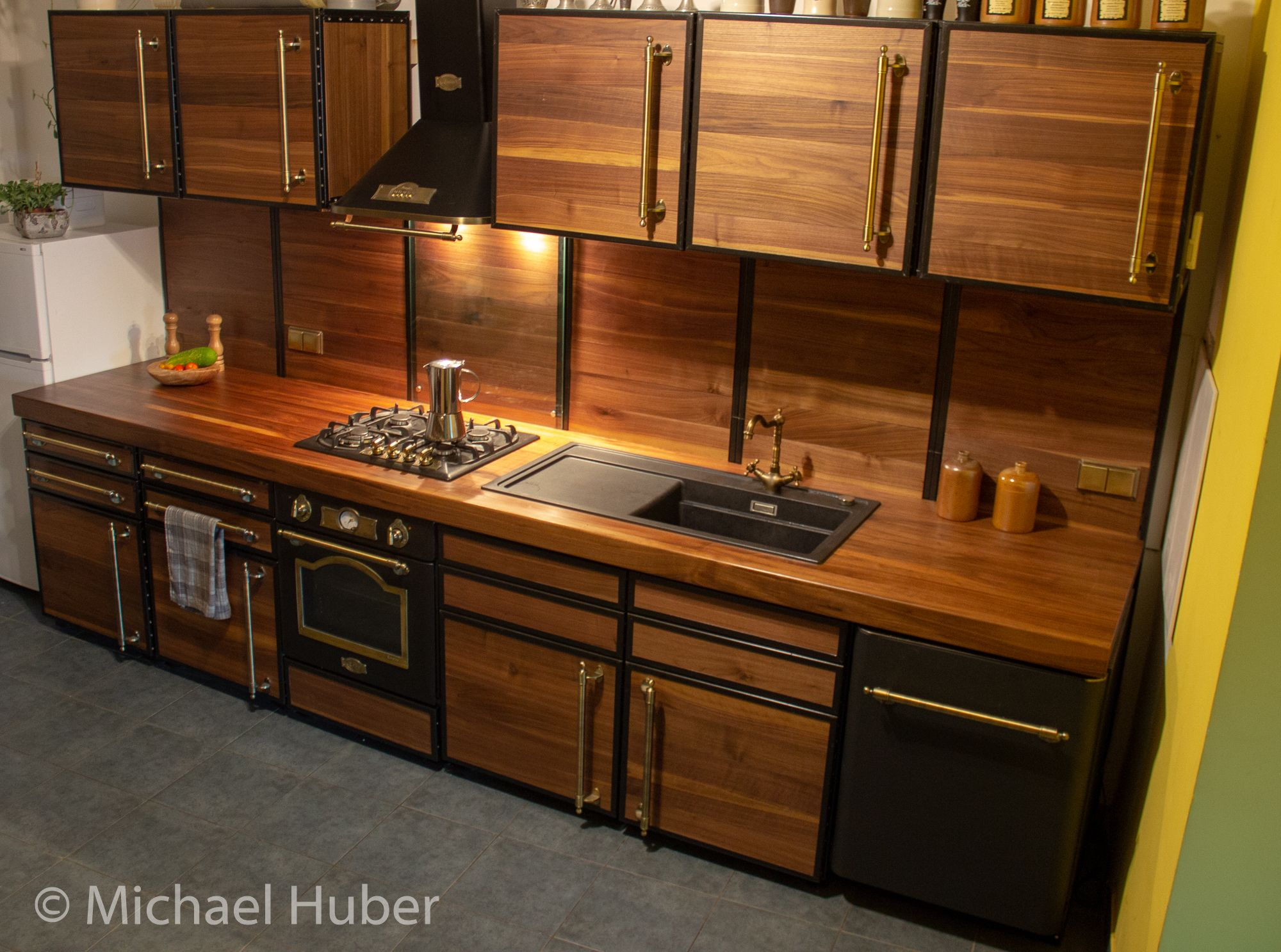 Kitchen Made Of Welded Steel Frames With Sanded Walnut Boards And A 2 4 Solid Walnut W Framed Kitchen Cabinets Functional Kitchen Design Steel Frame Furniture