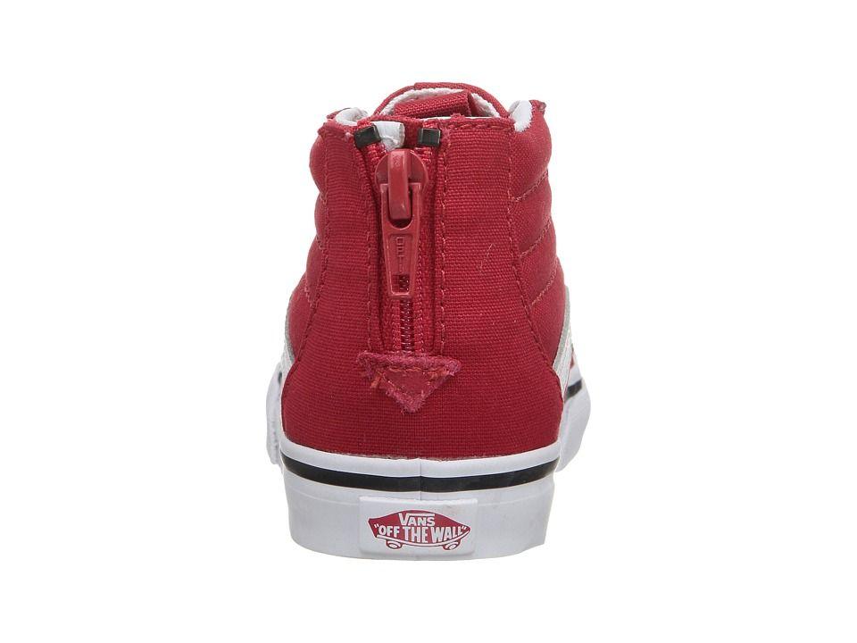 3f3ce628e7 Vans Kids Sk8-Hi Zip (Toddler) Boys Shoes (Varsity) Racing Red True White