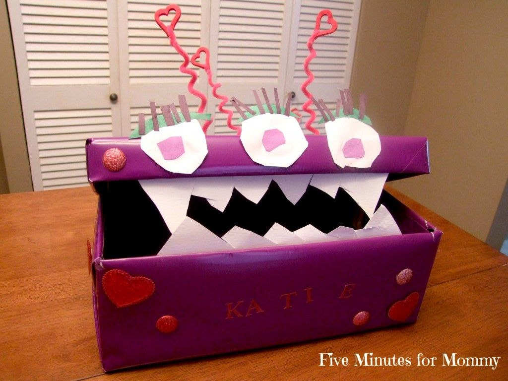 monster Valentines box  Valentines Day Freebies 4 Mom