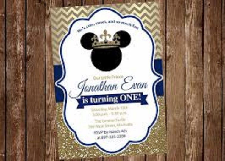 Royal Mickey Mouse Baby Shower Invitations Party Invitation Card