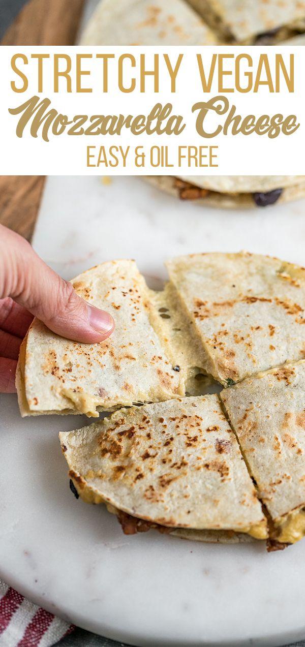 stretchy vegan mozzarella cheese (oil-free) | recept | vegan kaas