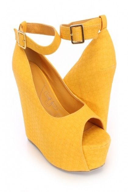 Yellow Peep Toe Ankle Strap Faux Suede Wedges